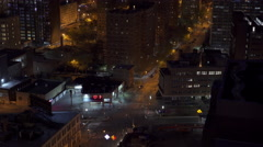 Quiet city streets of Brooklyn New York at night seen from above 4k Stock Footage