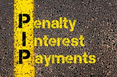 Accounting Business Acronym PIP Penalty Interest Payments - stock photo