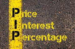 Accounting Business Acronym PIP Price Interest Percentage - stock photo