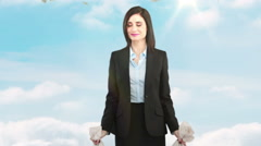 Composite video of businesswoman holding money bags Stock Footage