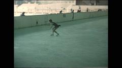 Vintage 16mm film, 1960, Austria, girls figure skating, ice skating rink Stock Footage