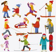 Stock Illustration of People collection (Winter)
