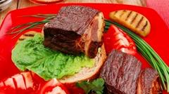 Roast meat : beef Stock Footage