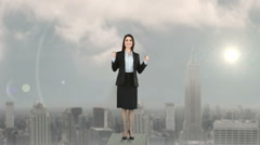 Stock Video Footage of Composite video of businesswoman on podium