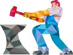 Blacksmith Worker Striking Hammer Anvil Low Polygon - stock illustration