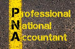 Accounting Business Acronym PNA Professional National Accountant in Australia Stock Photos