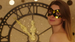 Woman in Mask Blowing Confetti Stock Footage