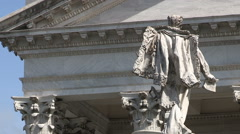A panoramic view of the  back of the statue of Vittorio Emanuele II and  church Stock Footage