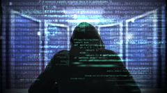 Composite video of hacker using laptop Stock Footage