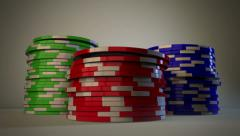 Gambling Chips Fall in Stacks Stock Footage