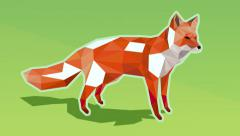 Animated low poly illustration of a red fox on green background turning white - stock footage