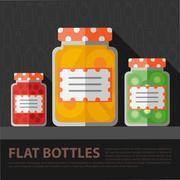 Stock Illustration of Vector color flat homemade jam bottle template