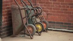 Wheelbarrows South Africa Wheels Rusty Metal Leaning Against Brick Wall Stock Footage