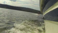 Wake Boarder Up Stock Footage