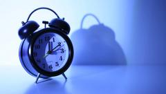 Classical twin bell alarm clock - stock footage