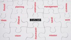 Word Association: Business - on white jigsaw puzzle with hand completing Stock Footage