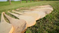 Row of Hurleys and Pick Up - stock footage
