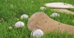 Rack Focus on Hurley and Sliotar - stock footage