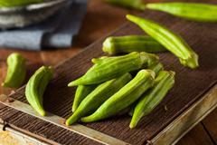Fresh Green Organic Okra Stock Photos
