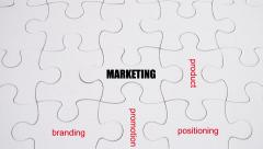 Word Association: Marketing - on white jigsaw puzzle with hand completing Stock Footage