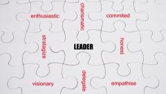Word Association: Leader - on white jigsaw puzzle with hand completing - stock footage