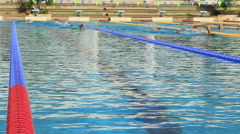 Swimmers In Background Olympic Size Swimming Pool Stock Footage
