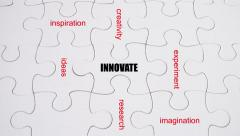 Word Association: Innovation - on white jigsaw puzzle with hand completing Stock Footage