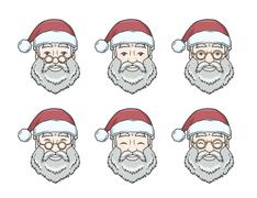 Set of smiling Santa Claus face with round glasses. Happy New Year design Stock Illustration