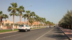 Street with palm trees in Doha, Qatar Stock Footage