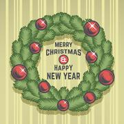 Merry Christmas green wreath vector design. Vintage happy New Year postcard. X Stock Illustration
