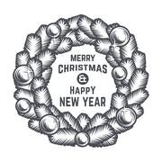 Merry Christmas wreath vector design. Vintage happy New Year postcard. X-mas Piirros