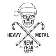 Crazy Santa Claus biker with candy cones logo insignia design. Vintage Heavy - stock illustration