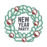 Merry Christmas green wreath vector design. Vintage happy New Year postcard. X - stock illustration