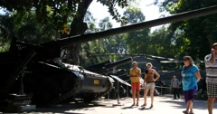 HO CHI MINH / SAIGON, VIETNAM - NOVEMBER 2015: Vietnam War Remnants Museum Stock Footage