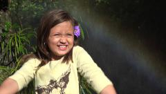 Female Child and Rainbow Stock Footage