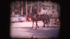 Vintage 8mm footage of horse pulling carts Stock Footage
