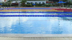 Olympic Size Swimming Pool In Outdoor Gym Fitness Center Slow Motion Stock Footage