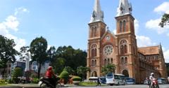 HO CHI MINH / SAIGON, VIETNAM - NOVEMBER 2015: Saigon Notre-Dame Basilica Stock Footage
