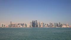 Skyline of Doha downtown Stock Footage
