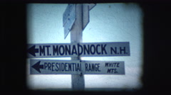 Vintage 8mm footage of Mt. Monadnock sign Stock Footage