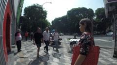 Avenida Ipiranga and its trade on sidewalks Stock Footage