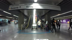 People walk through station butanta in red line subway - stock footage
