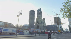 Kaiser Wilhelm memorial Church,Ruins of an original church, built in 1890 Stock Footage