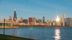 Chicago skyline lakefront timelapse zoom in at sunrise to Trump buillding Stock Footage