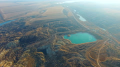 Flying Over The Ore Quarry Stock Footage