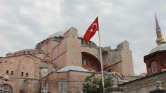 Hagia Sofia with Turkish Flag Stock Footage