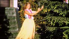 Blonde Teen Girl Hawaiian Hula Dancer 1950s Vintage Film 8mm Home Movie 8715 - stock footage