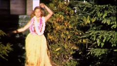 Blonde Teen Girl Hawaiian Hula Dancer 1950s Vintage Film 8mm Home Movie 8716 Stock Footage