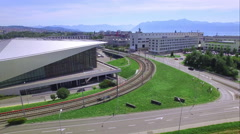 4K aerial shot above a futuristic building - technical university Stock Footage