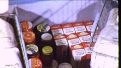 Home Deep Freezer Frozen Food Storage Fridge Vintage Film Home Movie 8718 Stock Footage